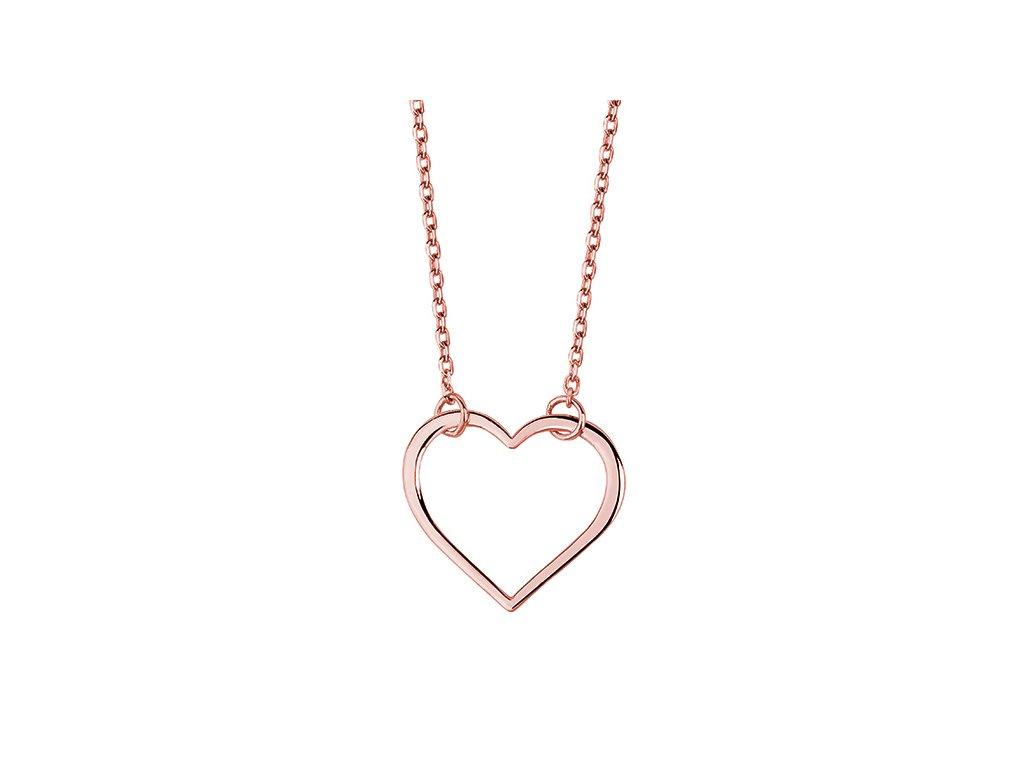 Stříbrný náhrdelník SRDCE ROSE růžově zlacený