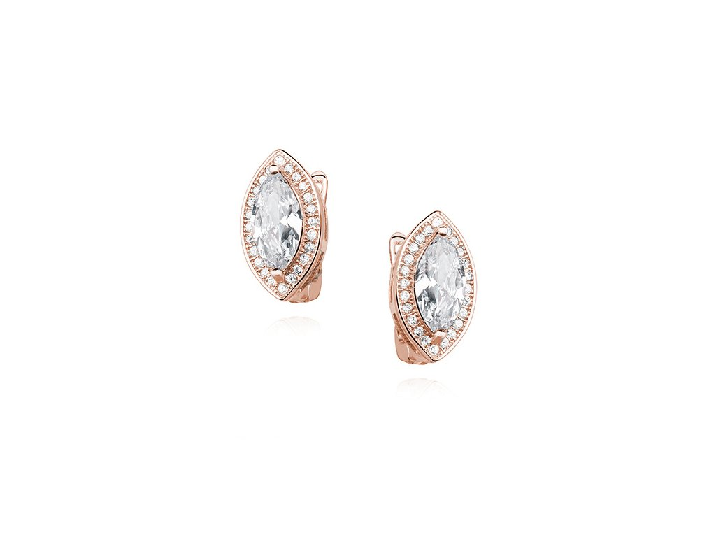 Stříbrné náušnice ROSE růžově pozlacené od OLIVIE