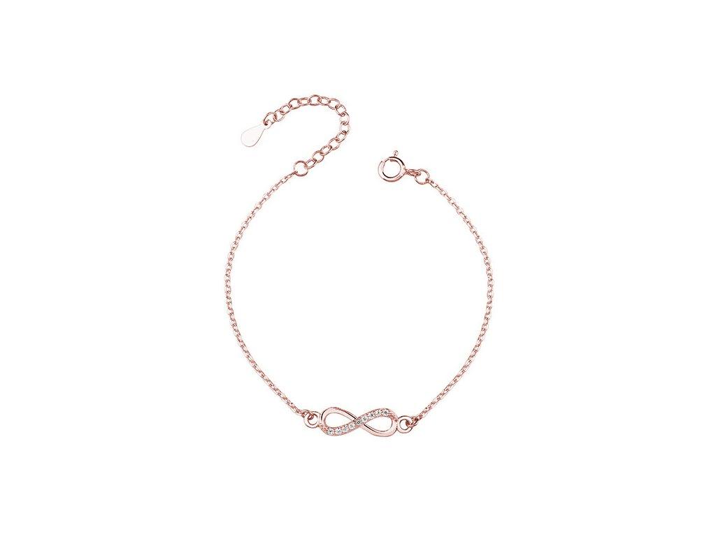 Stříbrný náramek NEKONEČNO ROSE růžově zlacený od OLIVIE