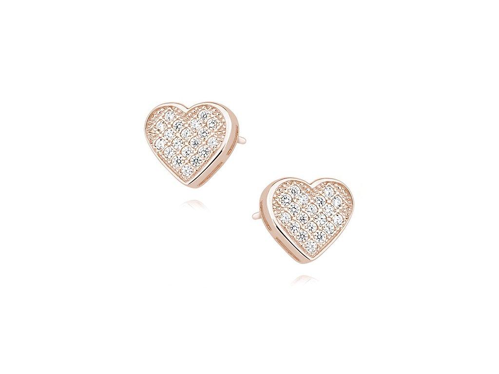 Stříbrné náušnice SRDCE ROSE růžově zlacené od OLIVIE