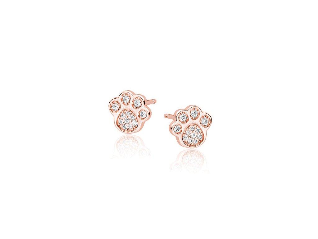 Stříbrné náušnice ROSE PSÍ TLAPKA růžově zlacené od OLIVIE