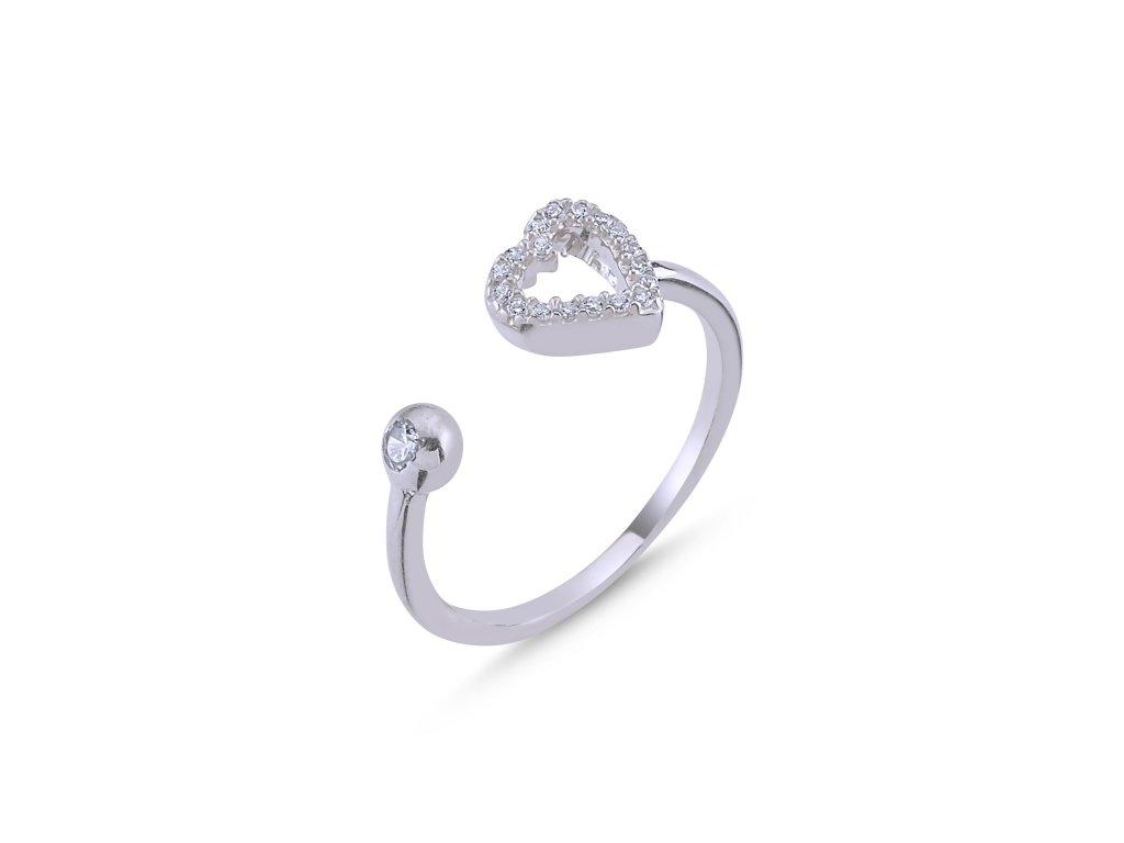 4043 Stříbrný prsten SRDCE - nastavitelná velikost  Ag 925; 1,5 g.