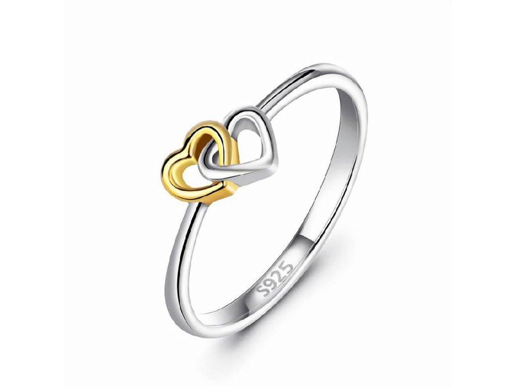 Stříbrný prstýnek SPOJENÁ SRDCE, dárek z lásky, pro zamilované, k Vánocům, k Valentýnu.