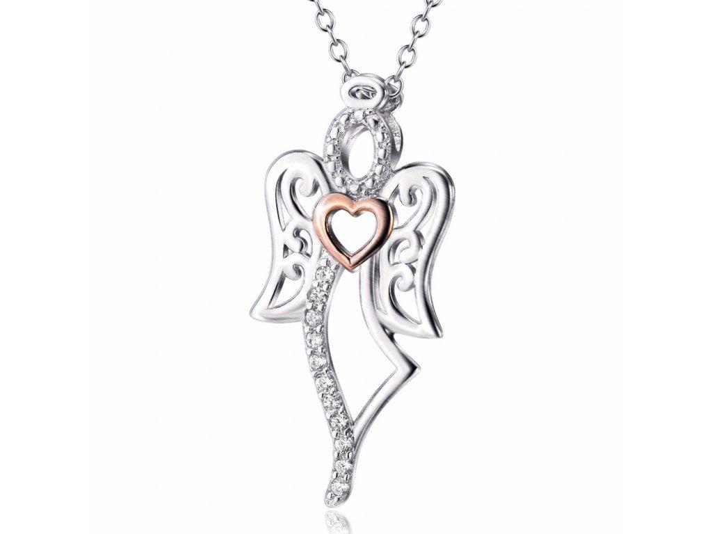 Stříbrný náhrdelník ANDĚL, dárek mamince.