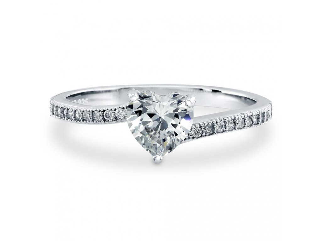 Stříbrný rhodiovaný prstýnek LOVE STORY od OLIVIE se srdíčkem