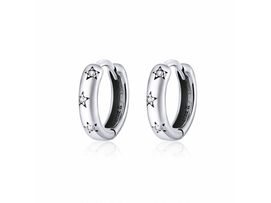 Stříbrné kroužky náušnice HVĚZDIČKY od OLIVIE