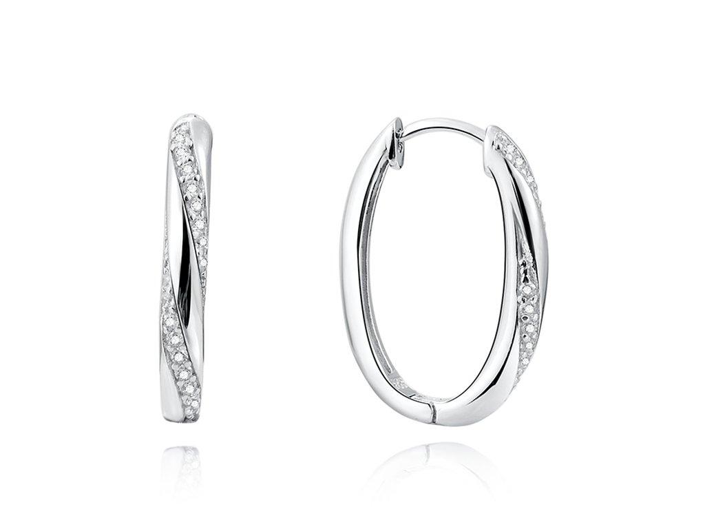 Stříbrné oválné náušnice AMBER od OLIVIE, luxusní dárek pro ženu, manželku, přítelkyni, partnerku.