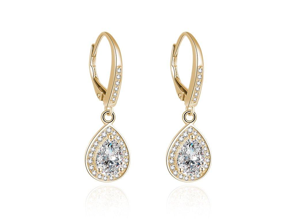 Stříbrné náušnice ZLATÁ KAPKA, pozlacené, luxusní vzhled, nádherný dárek pro ženu, OLIVIE.