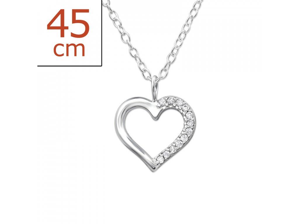 Stříbrný řetízek srdce OLIVIE.CZ
