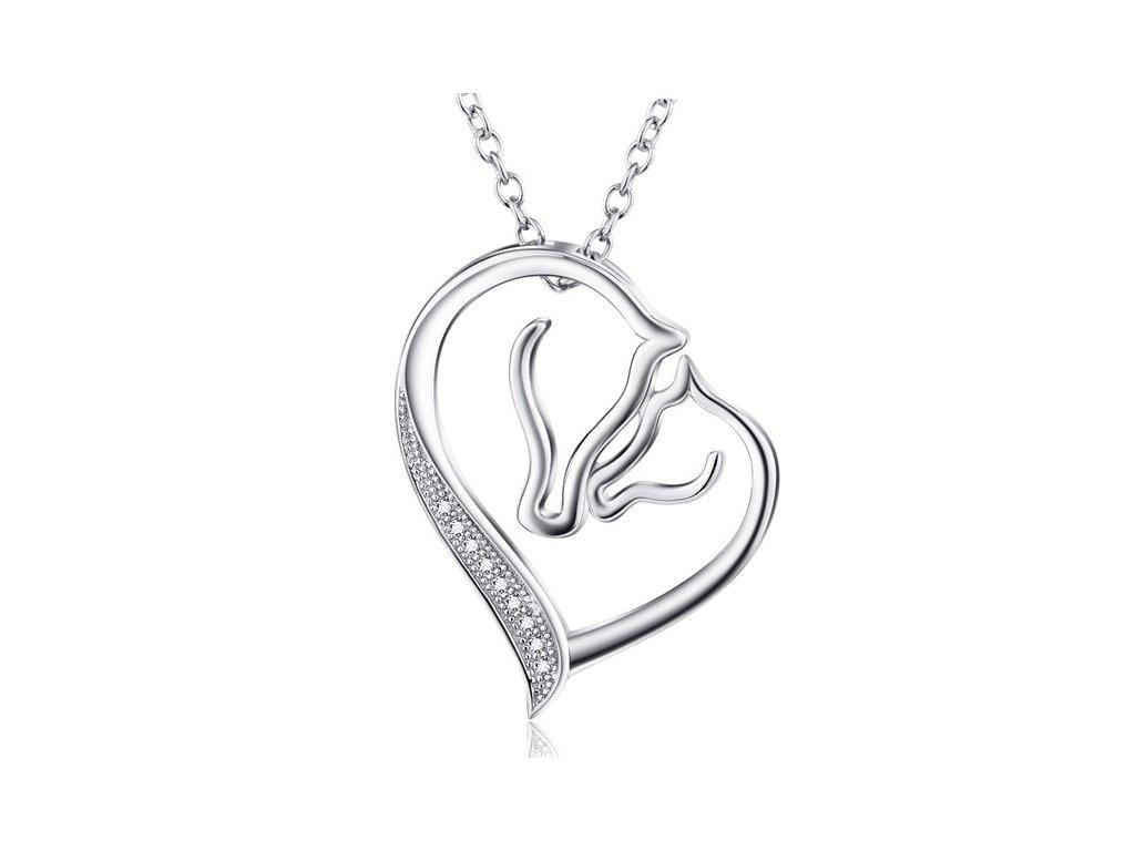Dva koníci v srdíčku - stříbrný náhrdelník od OLIVIE