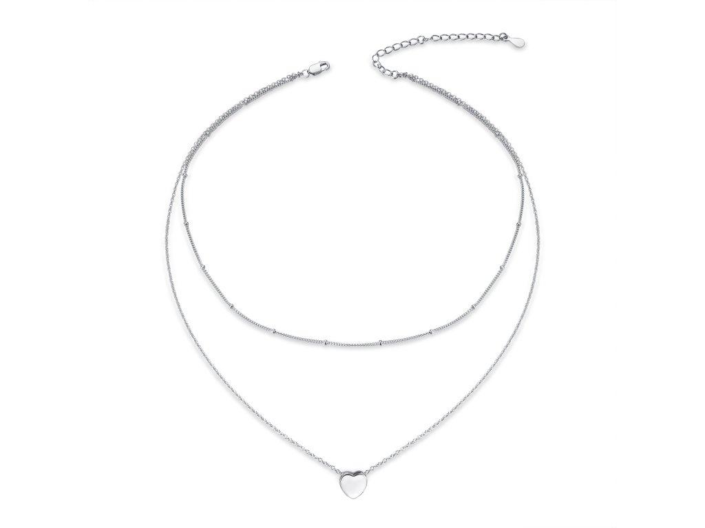 Stříbrný dvojitý náhrdelník SRDÍČKO se 2 řetízky od OLIVIE