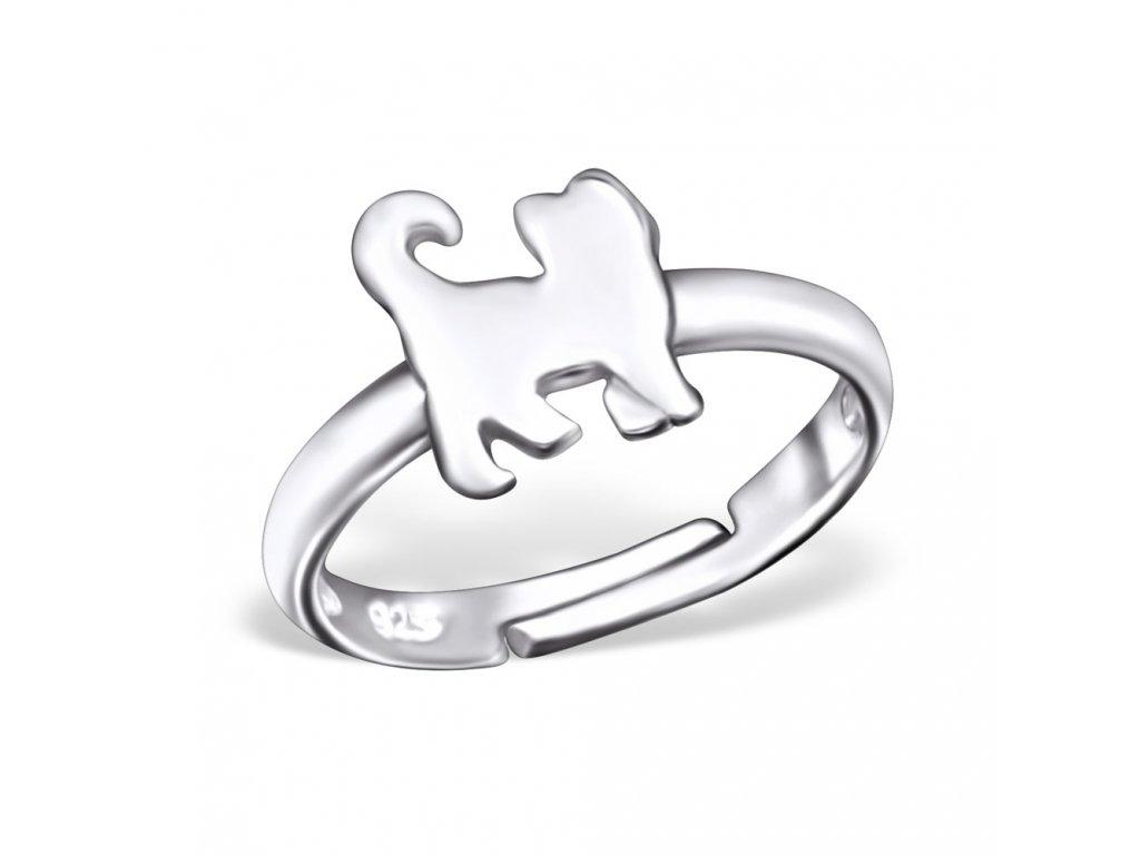 dětský stříbrný prstýnek KOČKA pro děti