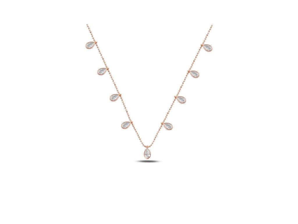 Stříbrný náhrdelník KAPKY ROSE růžově zlacený od OLIVIE