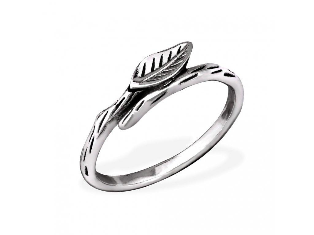 Stříbrný prsten lístek OLIVIE.CZ