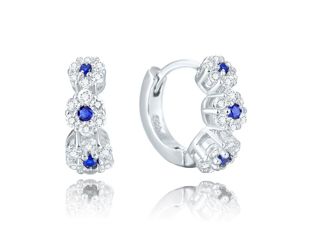 Stříbrné luxusní kroužky MODRÉ KVĚTY od OLIVIE