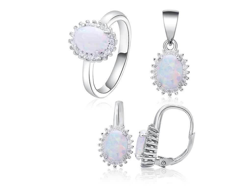 Stříbrná sada SNĚHOBÍLÝ OPÁL od OLIVIE. Nejkrásnější dárek pro ženu k Vánocům nebo narozeninám.