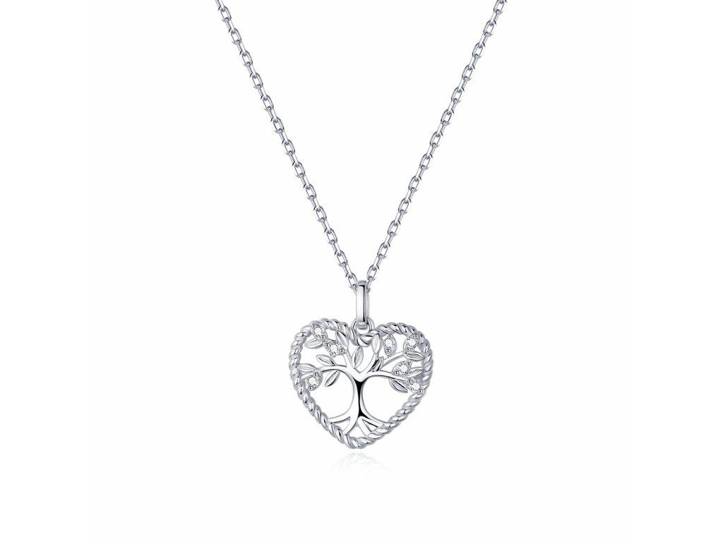 Stříbrný náhrdelník STROM ŽIVOTA V SRDCI od OLIVIE. Krásný dárek z lásky pro ženu k narozeninám, výročí, Valentýnu, Vánocům.