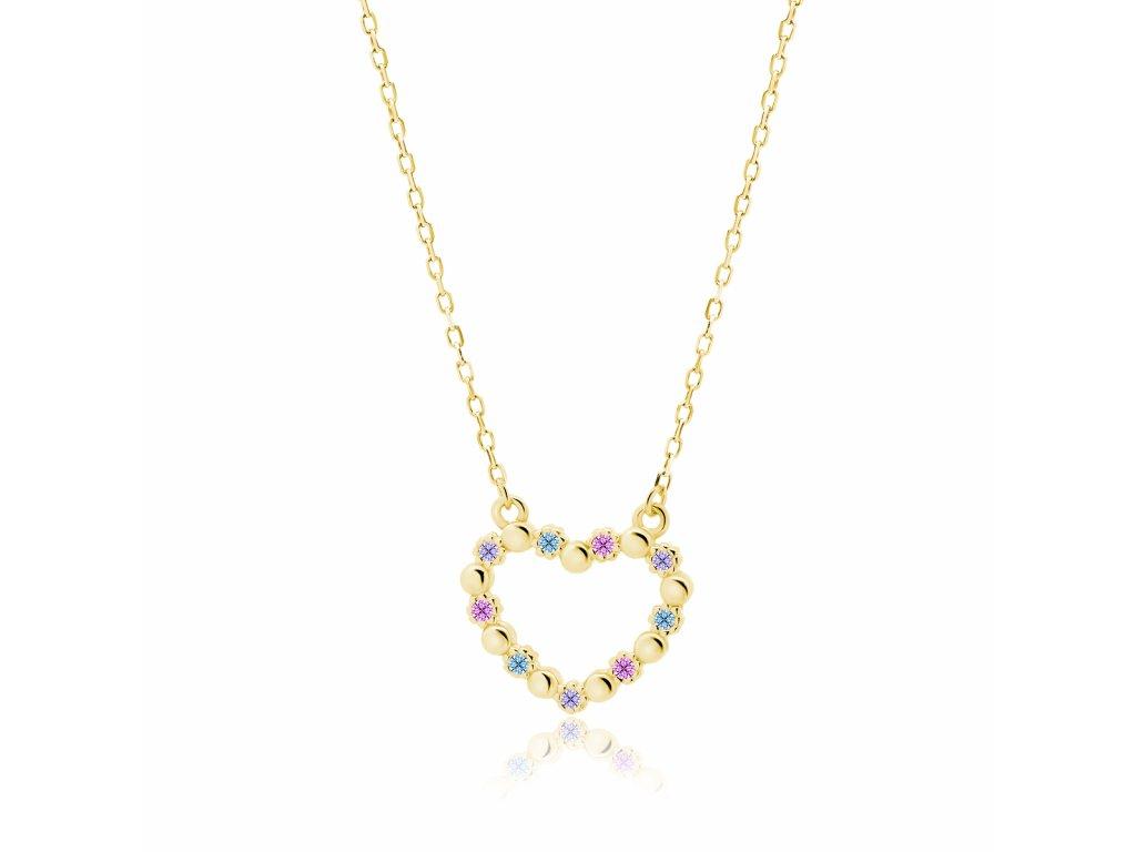 Stříbrný náhrdelník SRDCE GOLD pozlacený s vícebarevnými zirkony, vhodný jako krásný dárek z lásky. OLIVIE.cz