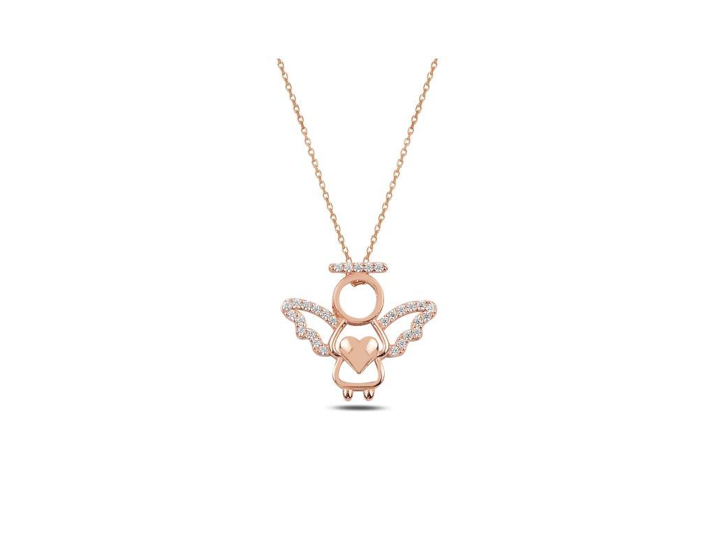 Stříbrný náhrdelník ANDĚL ROSE růžově zlacený se zirkony od OLIVIE