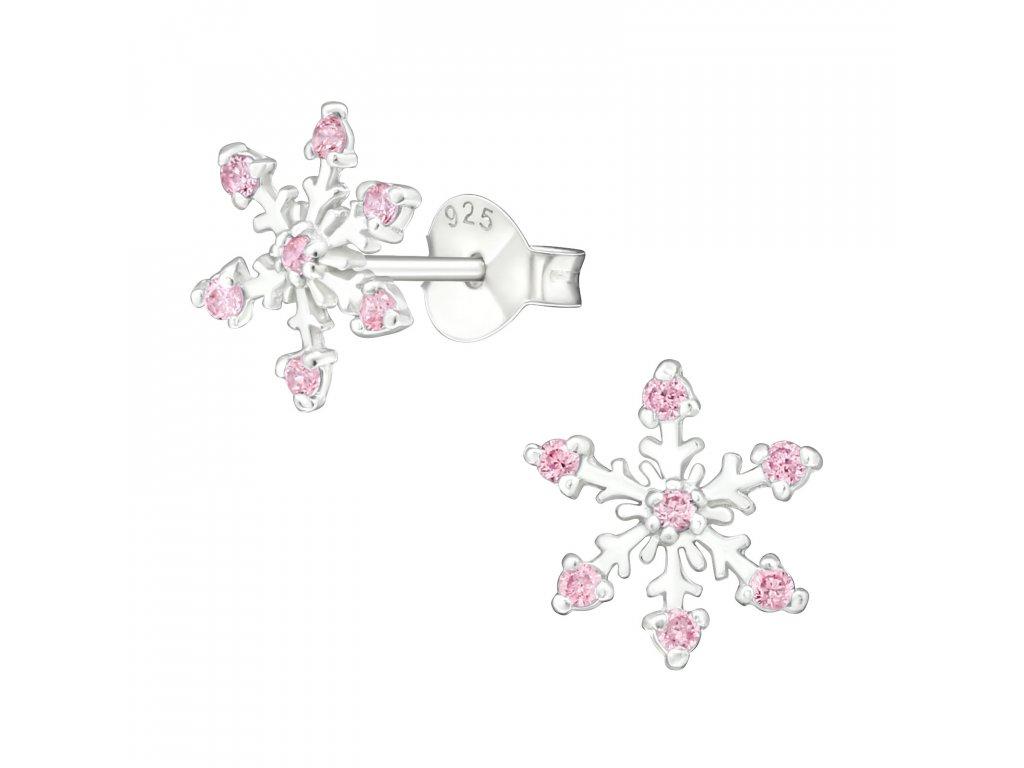 Stříbrné náušnice sněhová vločka OLIVIE.CZ