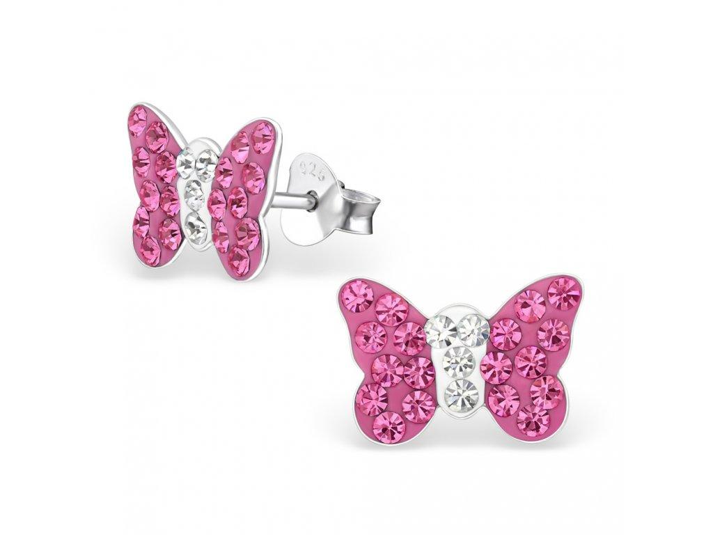 Dětské stříbrné náušnice motýl