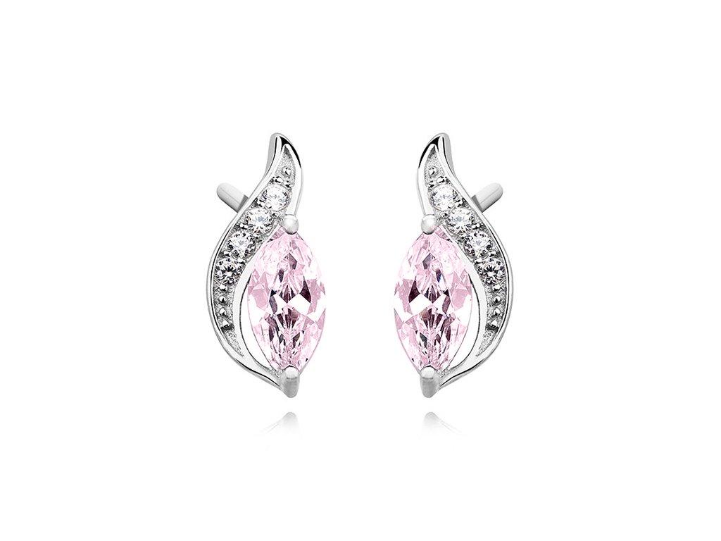 Stříbrné náušnice růžové PINK OLIVIE.CZ