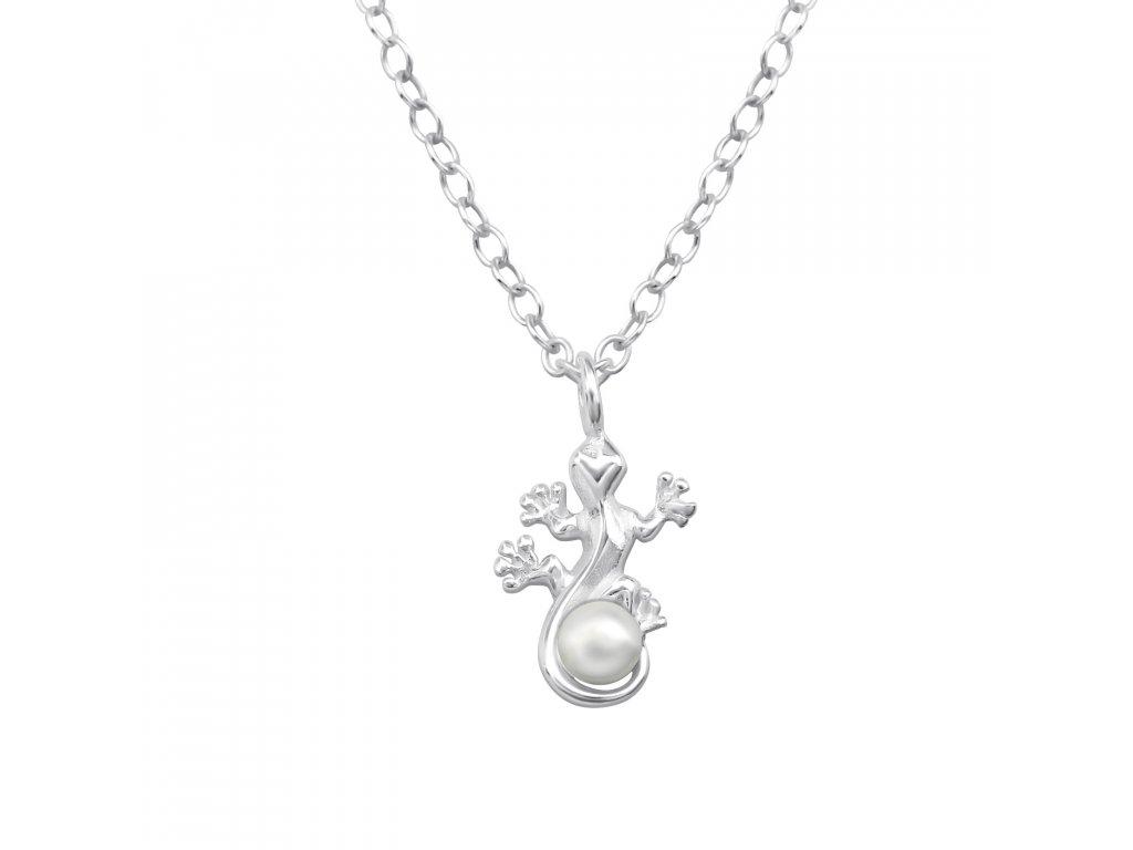 Stříbrný řetízek ještěrka s perlou OLIVIE.CZ