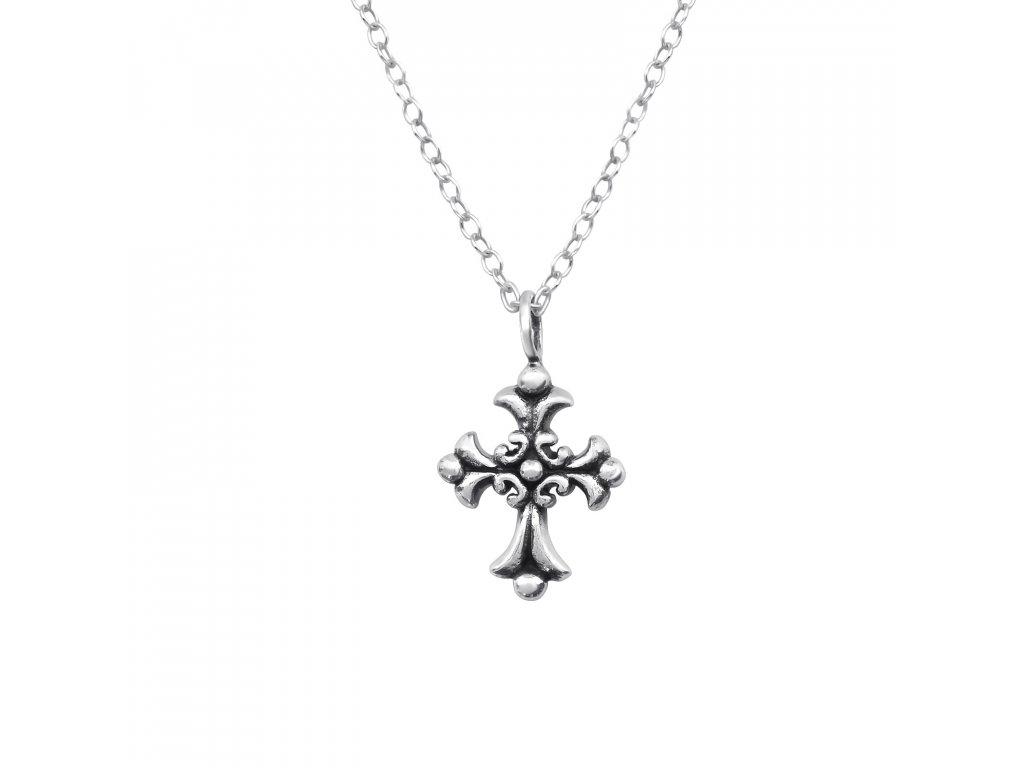 Stříbrný řetízek s přívěskem křížek OLIVIE.CZ