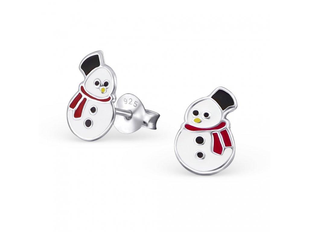 Dětské stříbrné náušnice sněhuláci