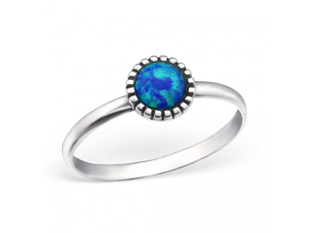 stříbrný prsten s modrým opálem