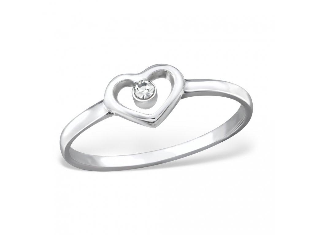 srdíčko stříbrný prstýnek
