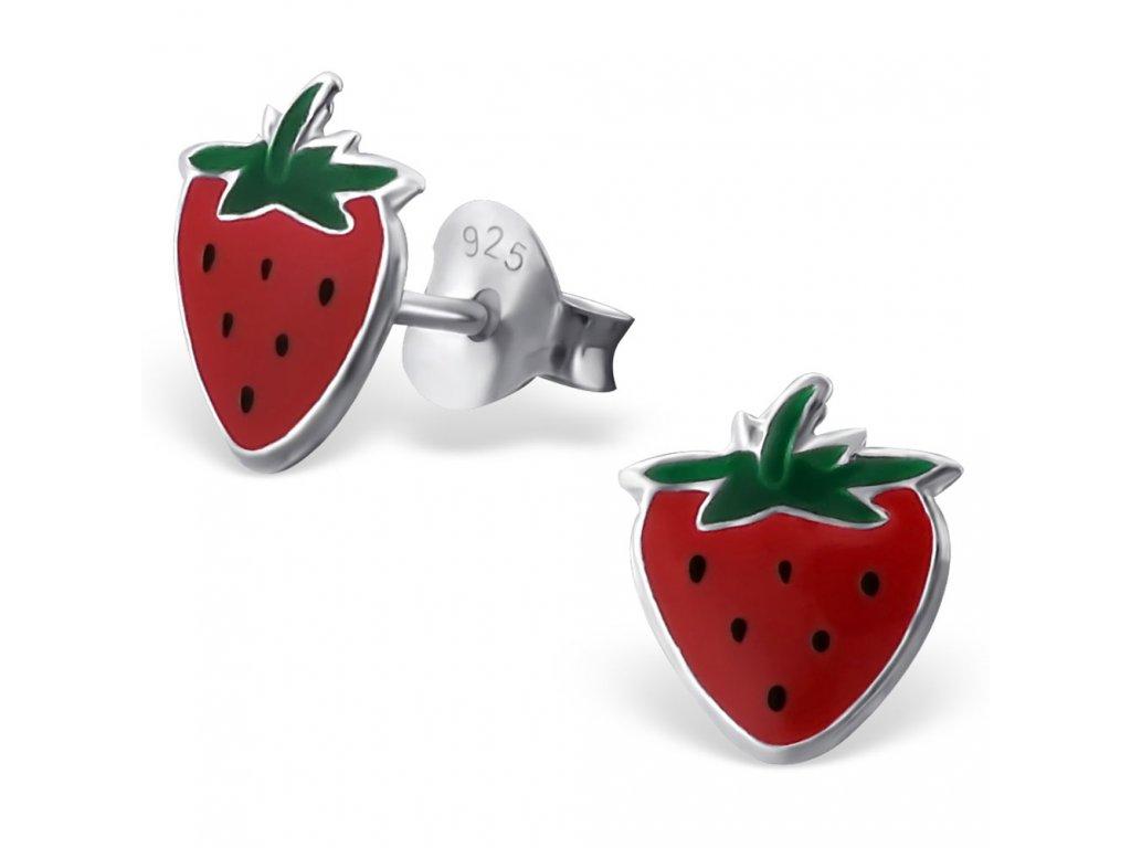 Dětské stříbrné náušnice jahody