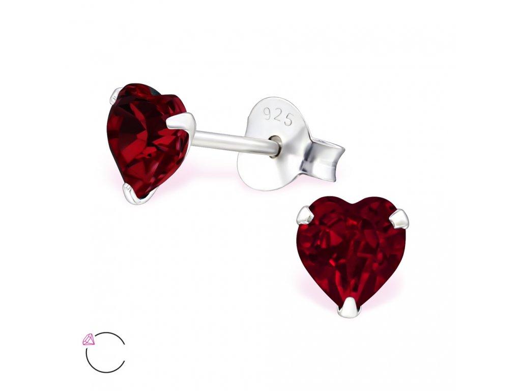 stříbrné náušnice Swarovski srdce