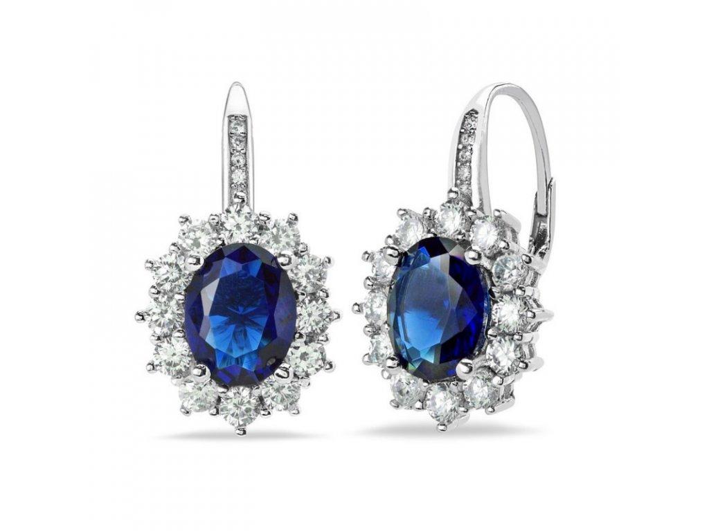 stříbrné náušnice Kate Middleton blue sapphire safír