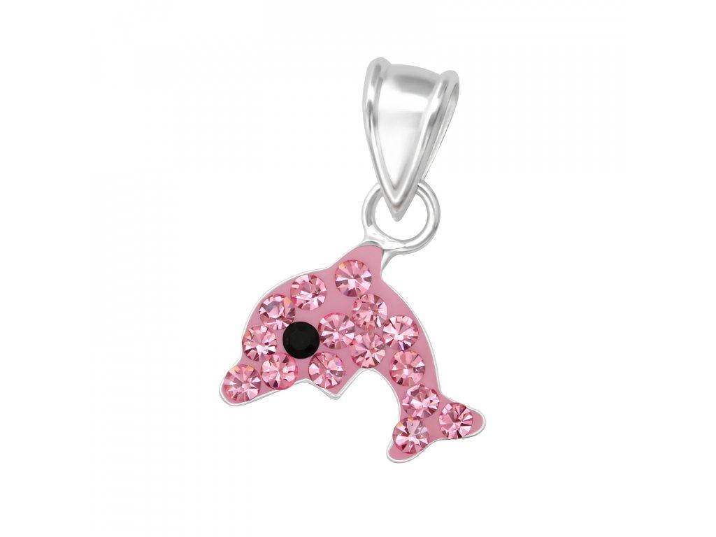 růžový delfín - stříbrný přívěsek