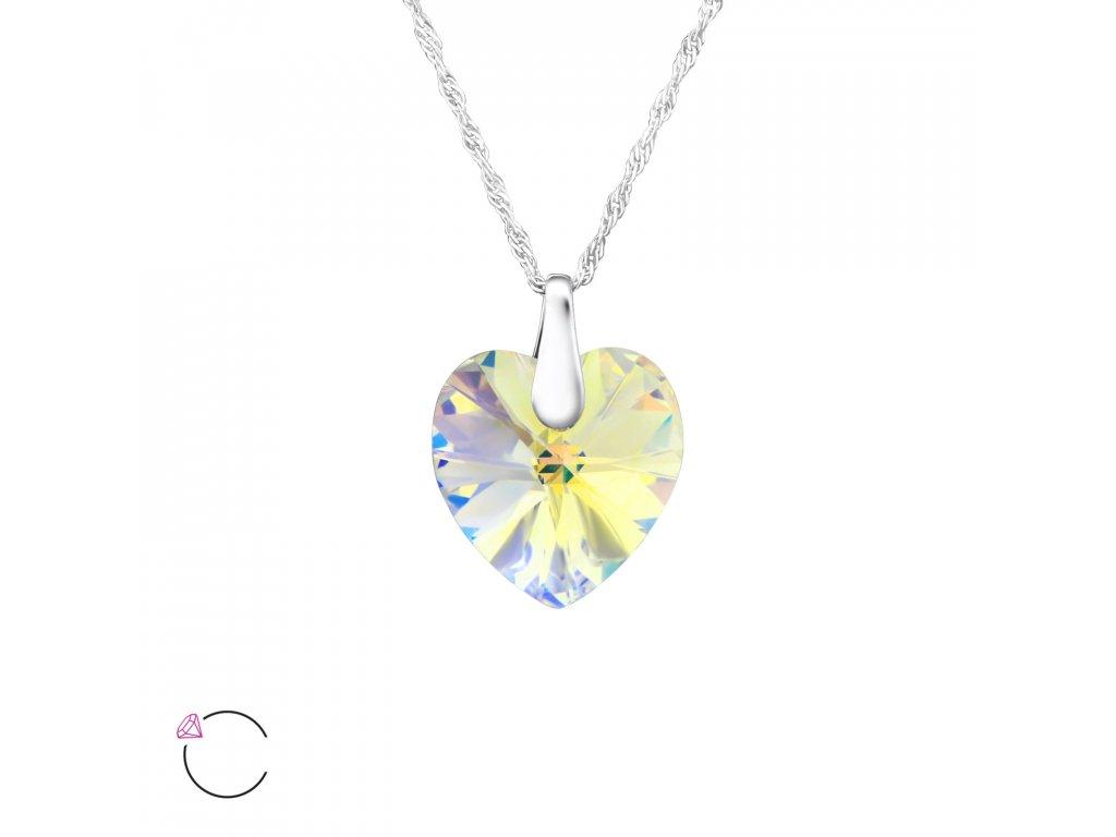 e857dad10 1199 Stříbrný náhrdelník SRDCE se Swarovski krystalem AB Ag 925; 1,5 ...