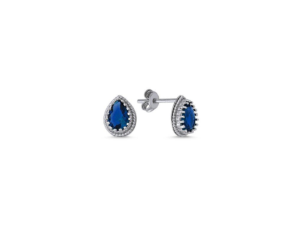 Stříbrné náušnice BLUE se zirkony OLIVIE.CZ