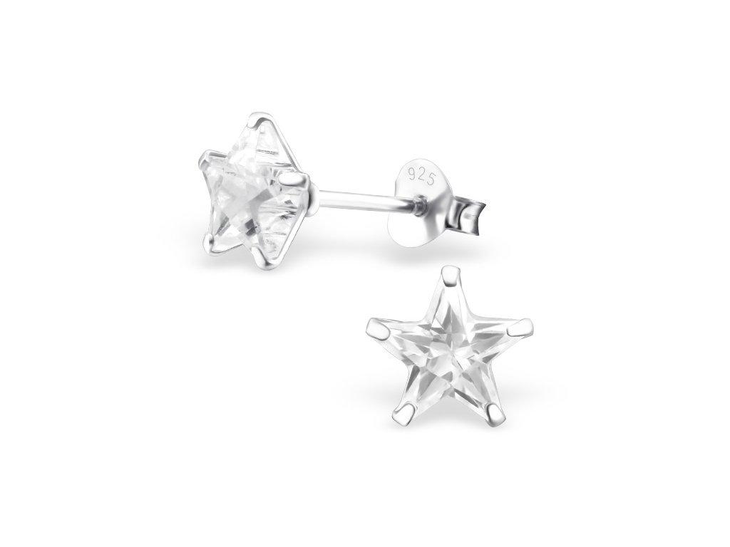 Stříbrné náušnice hvězdičky se zirkonem OLIVIE.CZ