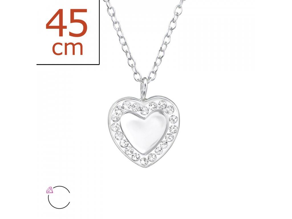 0124 Stříbrný řetízek s přívěskem SRDCE se Swarovski krystaly Ag 925 ... 1040bbc1aa8