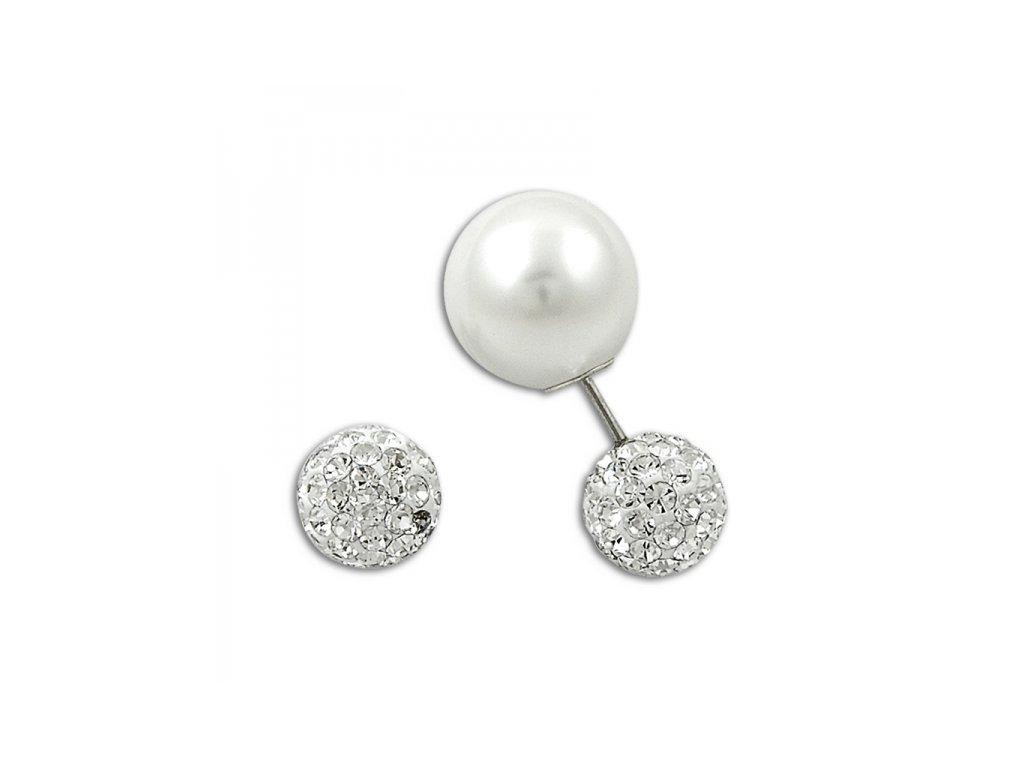 Stíbrné dvojité náušnice s perlou