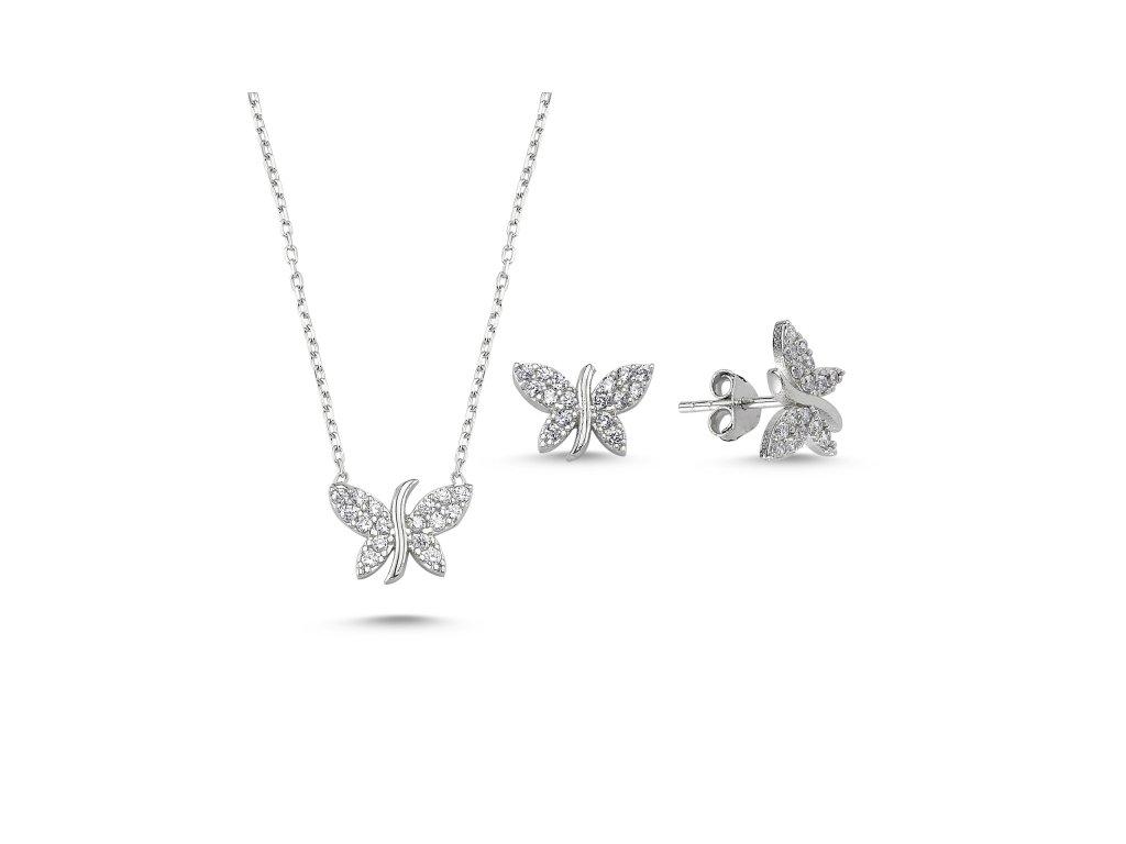 1395 Sada stříbrných šperků MOTÝL  Ag 925; ≤2,9 g.