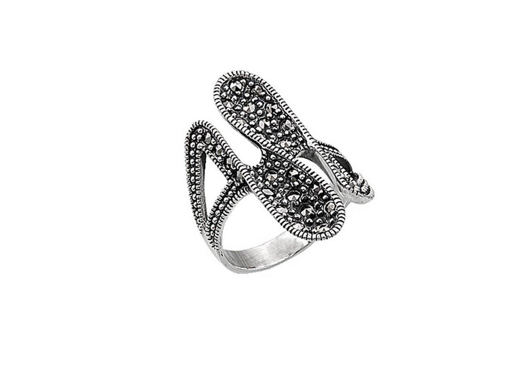 7e267a771 1425 Masivní stříbrný prsten MARCASITE Ag 925; 7,5 g. - Stříbrné ...