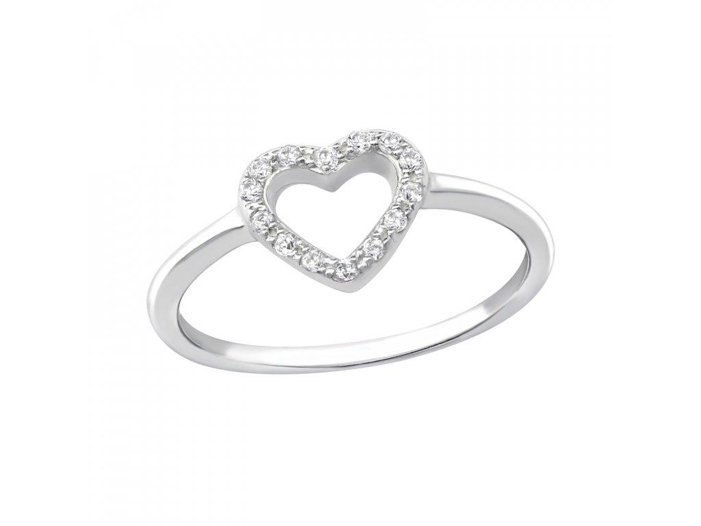 1477 Stříbrný prsten SRDÍČKO ZIRKON Ag 925  1 b63984c965b