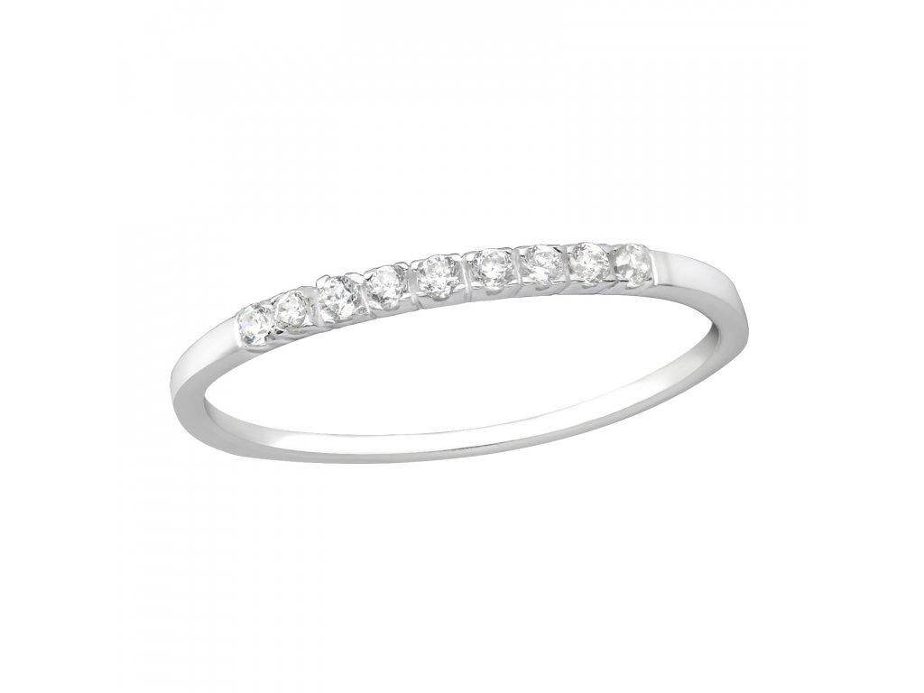 Stříbrný prsten s kubickými zirkony