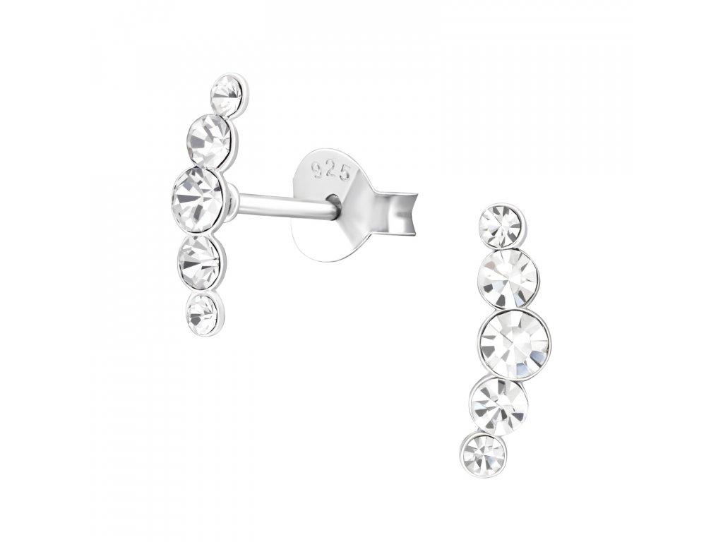 Stříbrné krystalkové náušnice