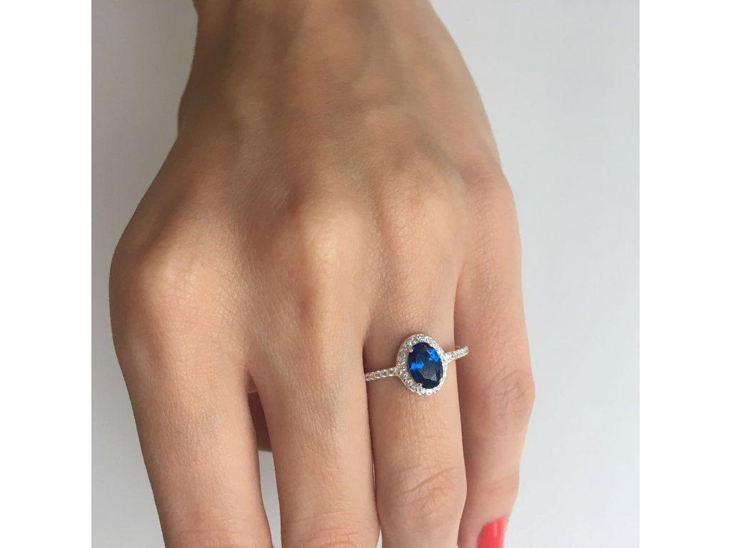 0148 Stříbrný prsten se zirkonem BLUE  Ag 925, 1,10 g.