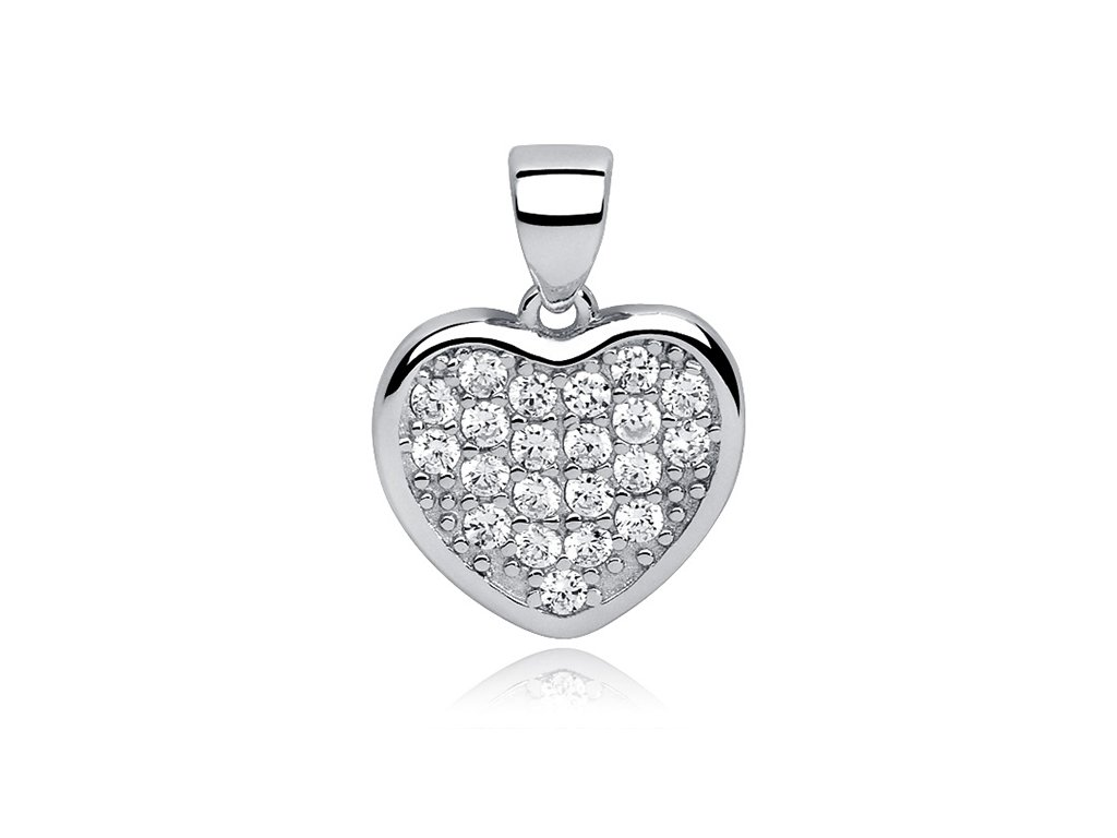 Stříbrný přívěsek SRDCE se zirkony, dárek z lásky, k narozeninám, na Valentýna