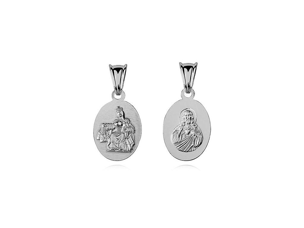 Stříbrný oboustranný přívěsek JEŽÍŠ A MARIE
