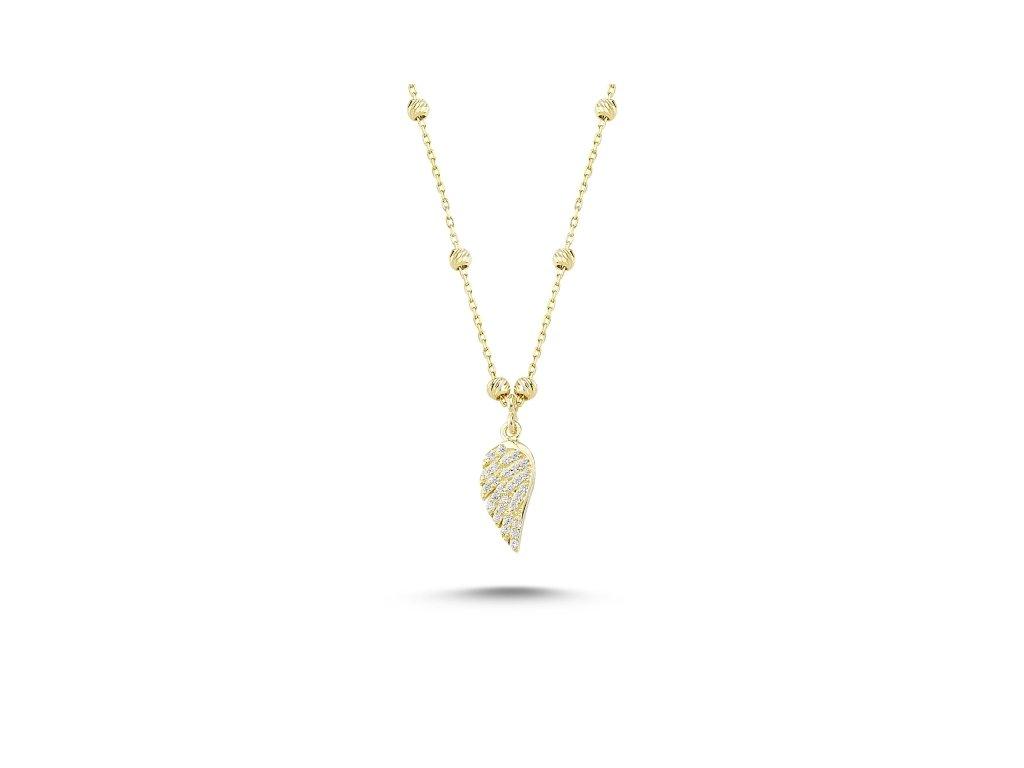 Stříbrný náhrdelník ANDĚLSKÉ KŘÍDLO GOLD