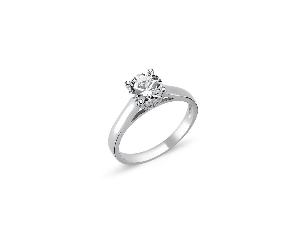 Stříbrný solitérní prsten CZ